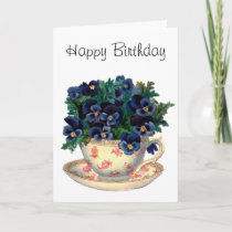Flowers in a Teacup Vintage Art Card