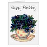 Flowers in a Teacup Vintage Art Card
