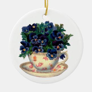 Flowers in a Teacup Vintage Art Ceramic Ornament