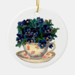 Flowers in a Teacup Vintage Art Double-Sided Ceramic Round Christmas Ornament