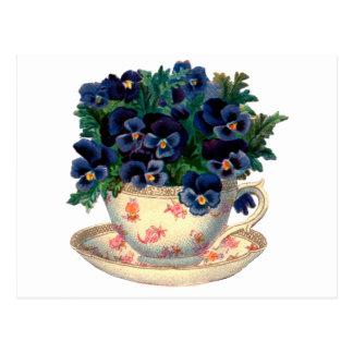 Flowers in a Teacup Vintage Art Postcard