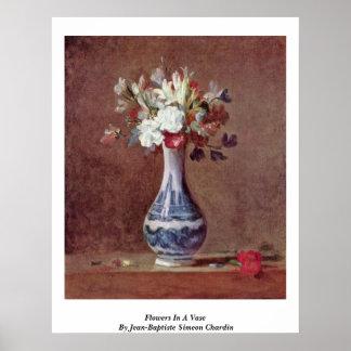 Flowers In A Vase By Jean-Baptiste Simeon Chardin Print