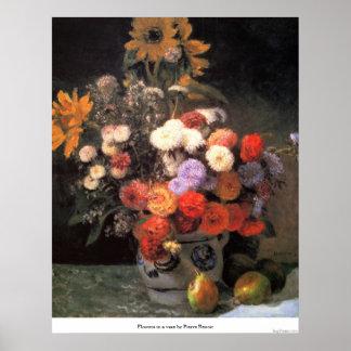 Flowers in a vase by Pierre Renoir Posters