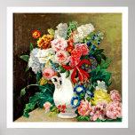 Flowers in a Vase Paulus Theodorus van Brussel Poster