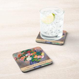 Flowers in a Vase Pierre Auguste Renoir painting Drink Coaster