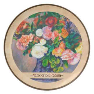 Flowers in a Vase Pierre Auguste Renoir painting Melamine Plate
