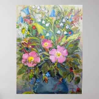 Flowers in a vase print