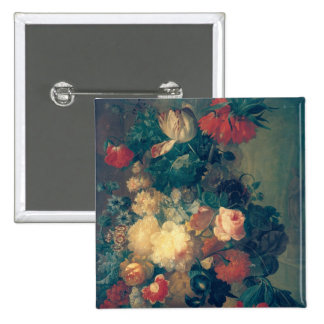 Flowers in a Vase with a Bird's Nest 2 Inch Square Button