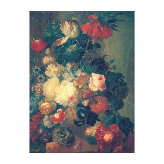 Flowers in a Vase with a Bird's Nest Canvas Print
