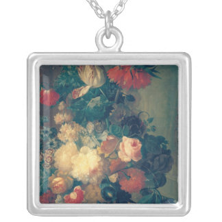 Flowers in a Vase with a Bird's Nest Silver Plated Necklace