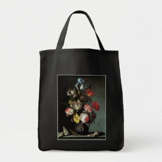 Flowers in a Vase with Shells and Insects Canvas Bags