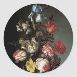Flowers in a Vase with Shells and Insects Round Sticker