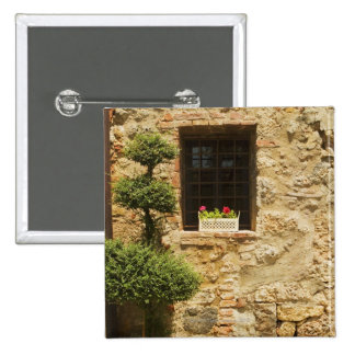 Flowers in a window box on a window sill, 2 inch square button