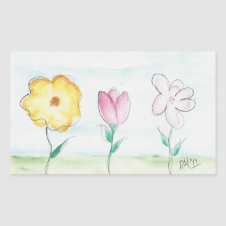 Flowers in Acrylic Rectangular Sticker