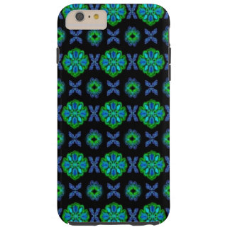 Flowers in artdeco retrolook green and blue tough iPhone 6 plus case