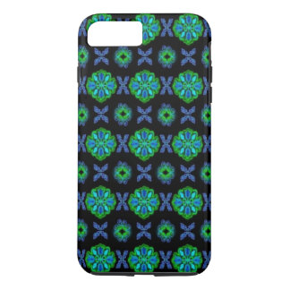 Flowers in artdeco retrolook green and blue iPhone 7 plus case