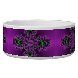 Flowers in Artdeco style purple green black Pet Food Bowl