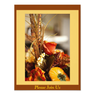 Flowers in Autumn Colors - 4.25x5.5 Paper Invitation Card
