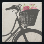 """Flowers in Bike Basket Stone Coaster<br><div class=""""desc"""">Elegant stone coaster with digital graphics of the silhouette of a bicycle basket with pink flowers,  in it.  Customize to add any text you want. Makes a lovely gift idea.</div>"""