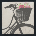 "Flowers in Bike Basket Stone Coaster<br><div class=""desc"">Elegant stone coaster with digital graphics of the silhouette of a bicycle basket with pink flowers,  in it.  Customize to add any text you want. Makes a lovely gift idea.</div>"
