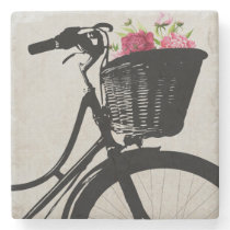 Flowers in Bike Basket Stone Coaster