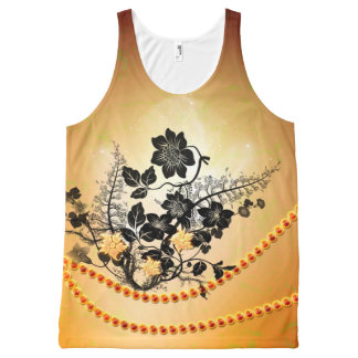 Flowers in black All-Over print tank top