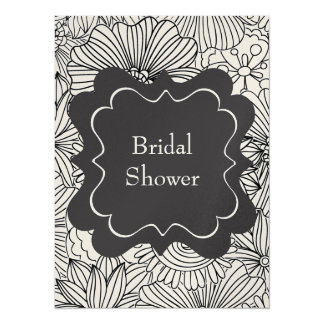 Flowers in Black and White 5.5x7.5 Paper Invitation Card