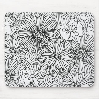 Flowers in Black and White Mousepad