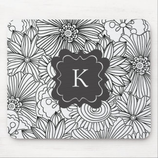 Flowers in Black and White Mousepads