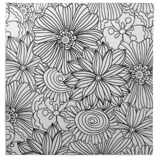 Flowers in Black and White Napkins