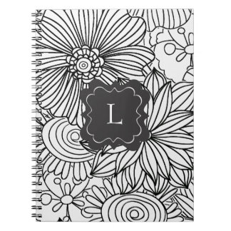 Flowers in Black and White Spiral Note Books