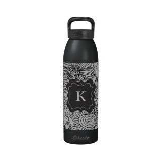 Flowers in Black and White Water Bottle