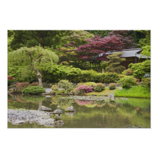 Flowers in bloom at Japanese Garden, Poster