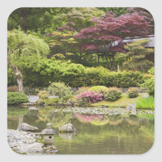 Flowers in bloom at Japanese Garden, Square Sticker