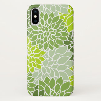 Flowers In Bloom, Dahlia Flowers - Green White iPhone X Case