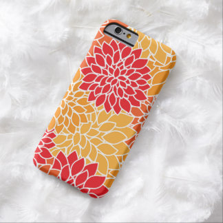 Flowers In Bloom, Dahlia Flowers - Orange Red Barely There iPhone 6 Case