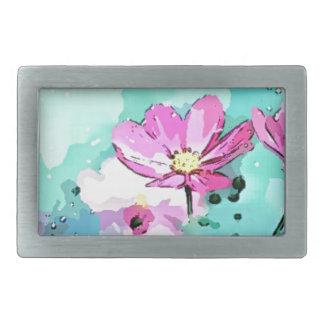 Flowers In Blue - Floral Art Belt Buckle