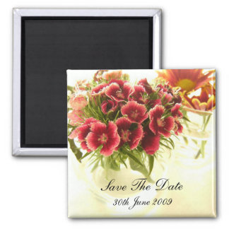 Flowers In Cafe Save The Date Magnet