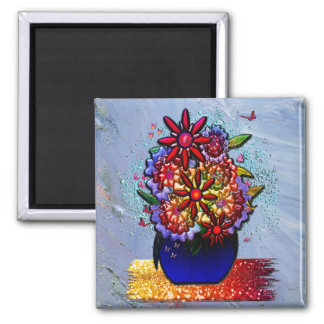 Flowers in Cobalt Blue Vase in Rain & Butterflies 2 Inch Square Magnet