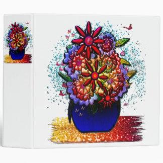 Flowers in Cobalt Blue Vase in Rain & Butterflies 3 Ring Binder