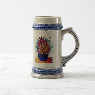 Flowers in Cobalt Blue Vase in Rain & Butterflies Beer Stein