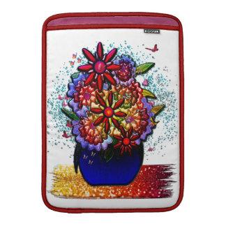 Flowers in Cobalt Blue Vase in Rain & Butterflies MacBook Air Sleeves