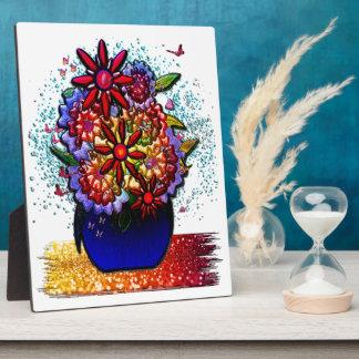 Flowers in Cobalt Blue Vase in Rain & Butterflies Plaque