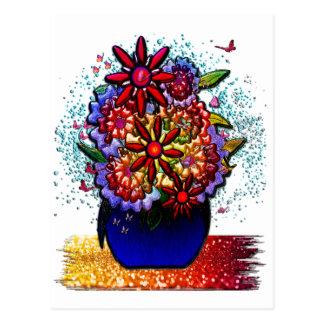 Flowers in Cobalt Blue Vase in Rain & Butterflies Postcard