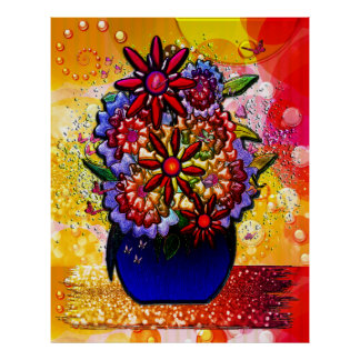 Flowers in Cobalt Blue Vase in Rain & Butterflies Poster