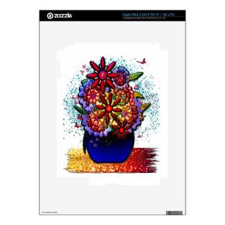 Flowers in Cobalt Blue Vase in Rain & Butterflies Skin For iPad 3