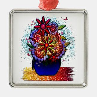Flowers in Cobalt Blue Vase in Rain & Butterflies Square Metal Christmas Ornament