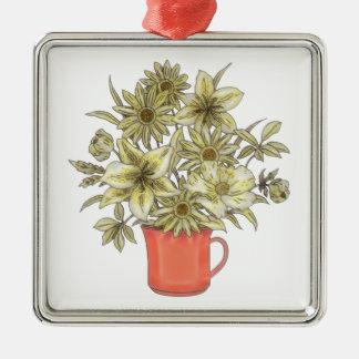 Flowers in Coffee Mug 1 Metal Ornament