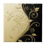 Flowers in Contrast 3 Ceramic Tile
