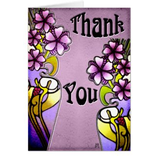 Flowers in Craftsman Painted Vases (Thank You) Stationery Note Card